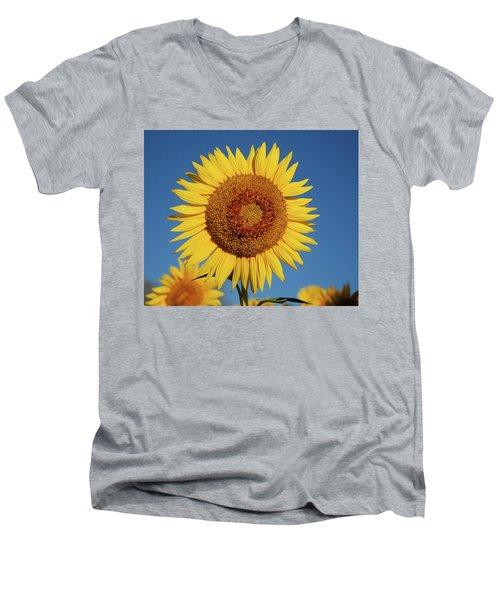 Sunflower And Blue Sky Men's V-Neck T-Shirt by Nancy Landry