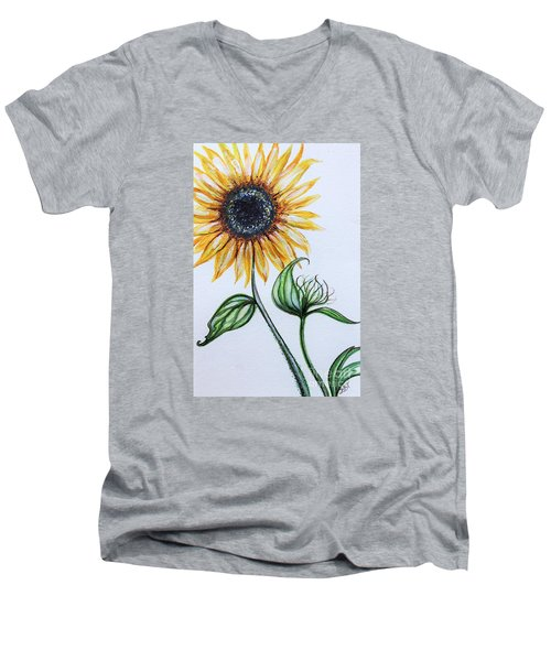 Men's V-Neck T-Shirt featuring the painting Sunflower Botanical by Elizabeth Robinette Tyndall