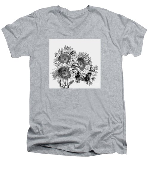 Men's V-Neck T-Shirt featuring the photograph Sunflower Bouquet Bw by Shirley Mangini