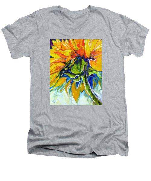 Sunflower Day Men's V-Neck T-Shirt by Marcia Baldwin