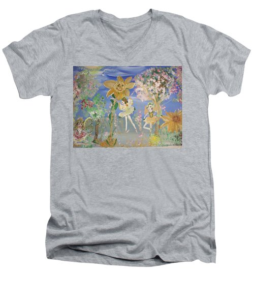 Sunflower Fairies Men's V-Neck T-Shirt by Judith Desrosiers