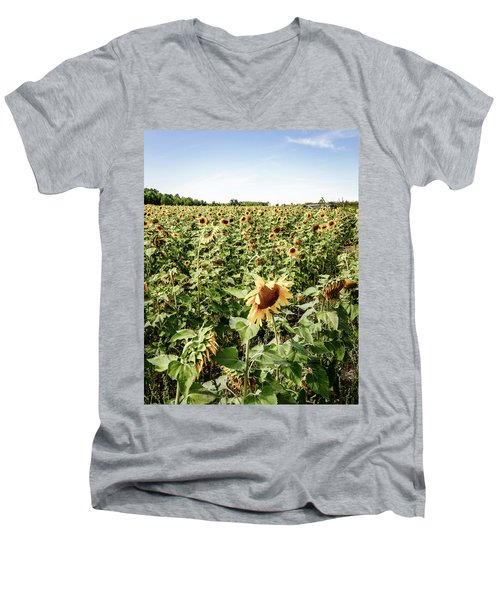Men's V-Neck T-Shirt featuring the photograph Sunflower Field by Alexey Stiop