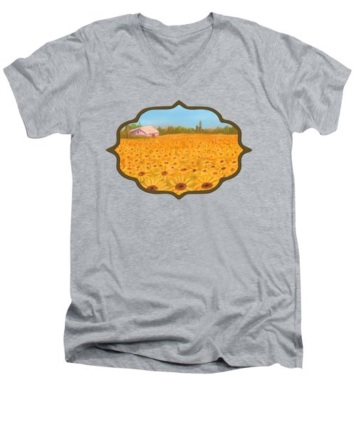 Sunflower Field Men's V-Neck T-Shirt by Anastasiya Malakhova