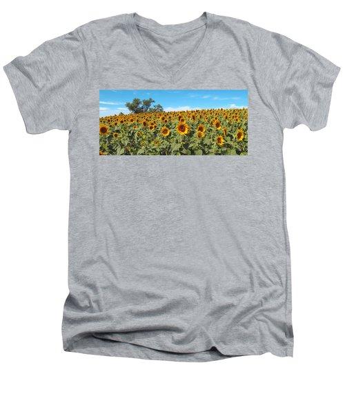 Sunflower Field One Men's V-Neck T-Shirt by Barbara McDevitt