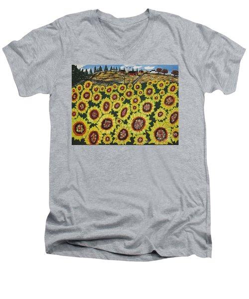 Sunflower Fields  Forever Men's V-Neck T-Shirt by Jeffrey Koss