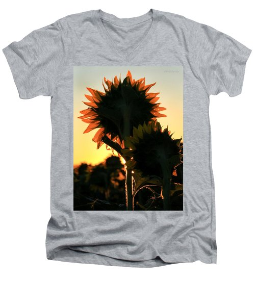 Men's V-Neck T-Shirt featuring the photograph Sunflower Greeting  by Chris Berry