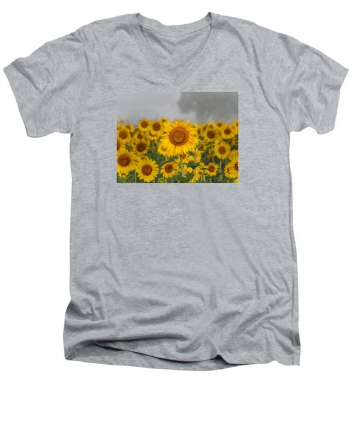 Sunflower In The Fog Men's V-Neck T-Shirt