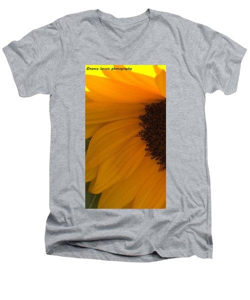 Sunflower Macro Men's V-Neck T-Shirt by Nance Larson