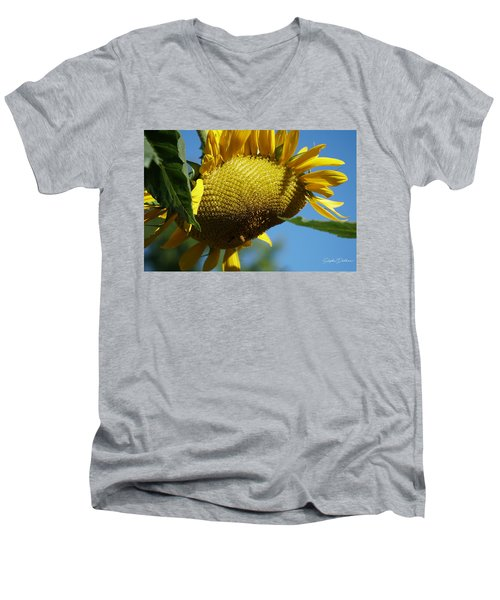 Sunflower, Mammoth With Bees Men's V-Neck T-Shirt