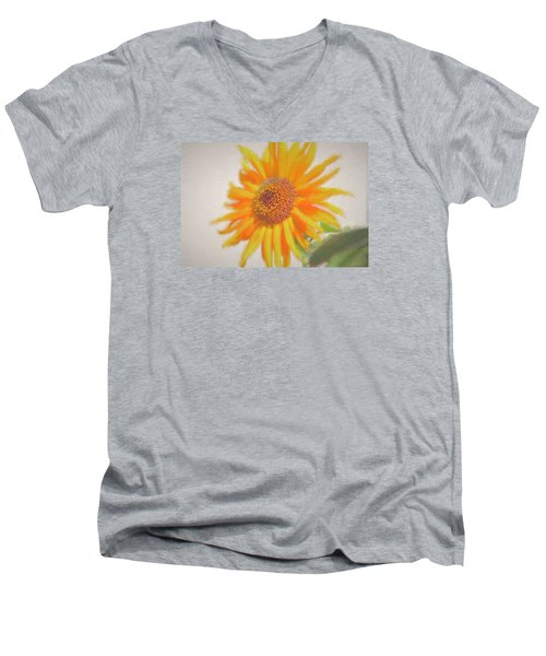Men's V-Neck T-Shirt featuring the painting Sunflower Painting by Debra     Vatalaro