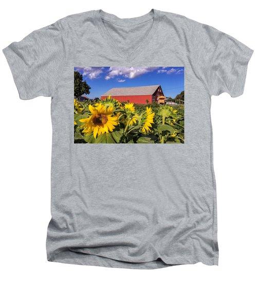 Sunflower Red Barn Men's V-Neck T-Shirt