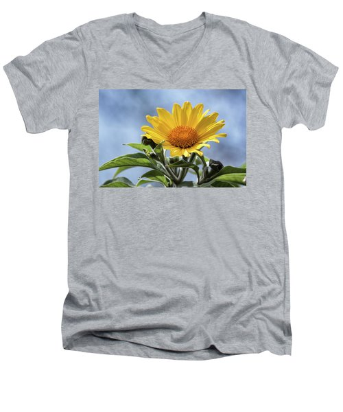 Men's V-Neck T-Shirt featuring the photograph Sunflower  by Saija Lehtonen