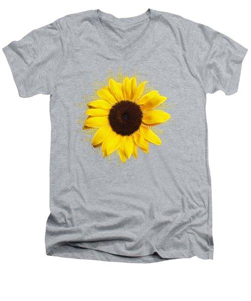 Sunflower Sunburst Men's V-Neck T-Shirt by Gill Billington