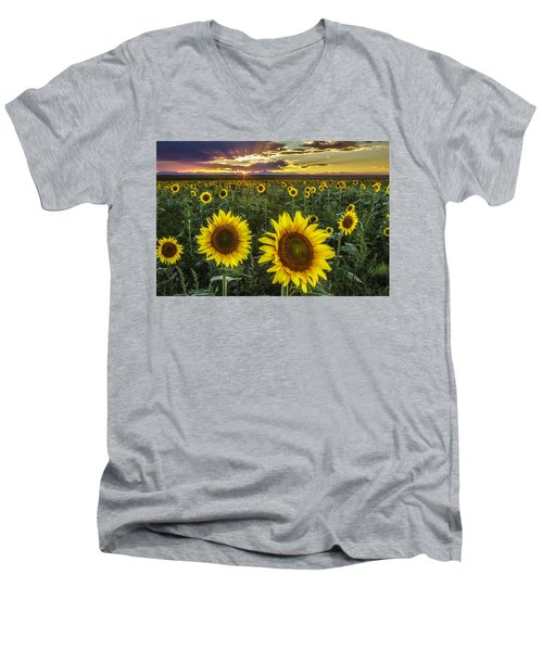 Sunflower Sunset Men's V-Neck T-Shirt by Kristal Kraft