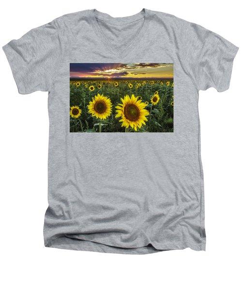 Sunflower Sunset Men's V-Neck T-Shirt