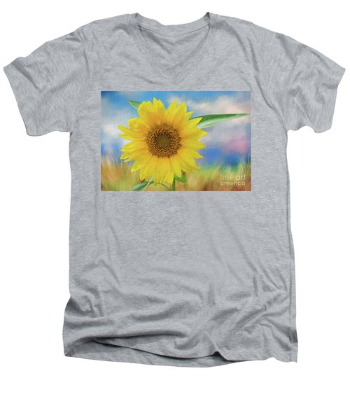 Men's V-Neck T-Shirt featuring the photograph Sunflower Surprise by Bonnie Barry