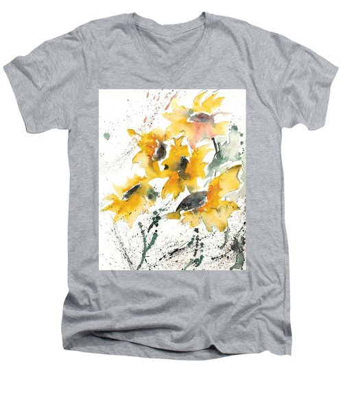 Men's V-Neck T-Shirt featuring the painting Sunflowers 10 by Ismeta Gruenwald