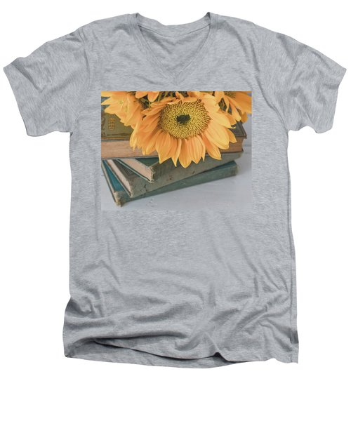 Men's V-Neck T-Shirt featuring the photograph Sunflowers And Books by Kim Hojnacki