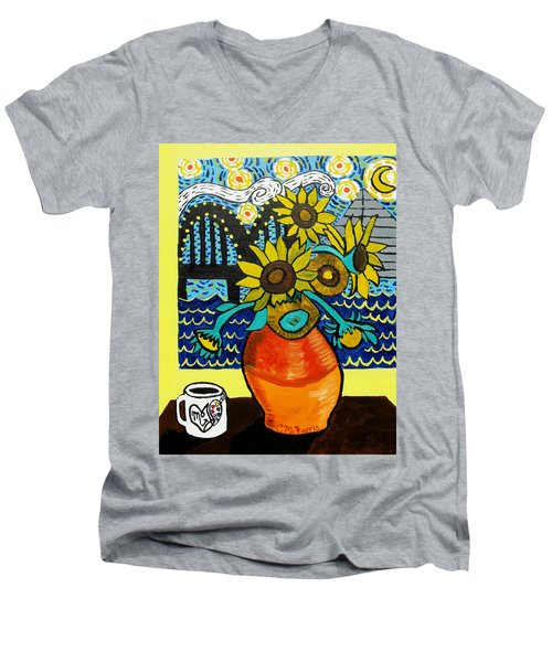 Sunflowers And Starry Memphis Nights Men's V-Neck T-Shirt