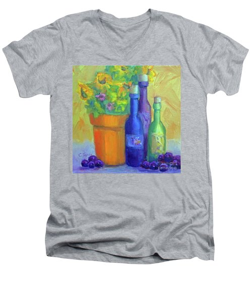 Sunflowers And Wine Men's V-Neck T-Shirt
