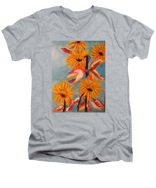 Sunflowers At Harvest Men's V-Neck T-Shirt by Sharyn Winters