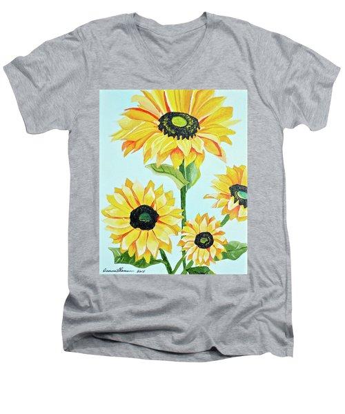 Sunflowers  Men's V-Neck T-Shirt by Donna Blossom