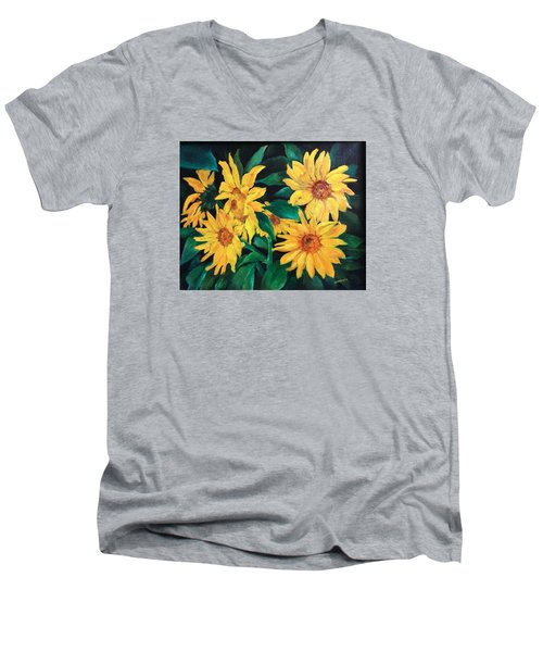 Men's V-Neck T-Shirt featuring the painting Sunflowers by Ellen Canfield
