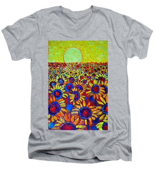 Sunflowers Field At Sunrise Men's V-Neck T-Shirt by Ana Maria Edulescu