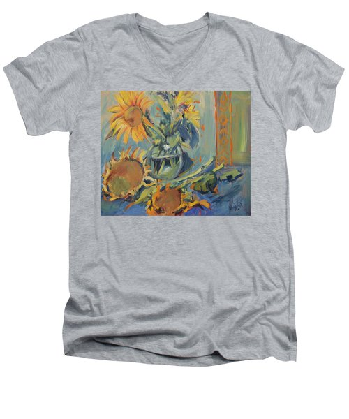 Sunflowers Fresh And Dried With Vase Men's V-Neck T-Shirt