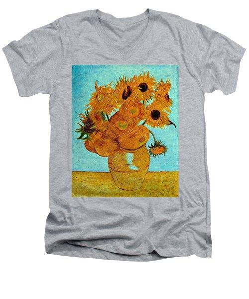 Sunflowers Men's V-Neck T-Shirt by Henryk Gorecki