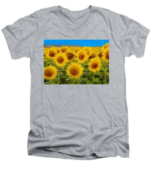 Sunflowers In The Field Men's V-Neck T-Shirt by Jeff Kolker