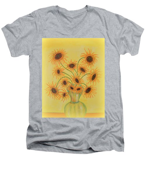 Sunflowers Men's V-Neck T-Shirt by Marie Schwarzer
