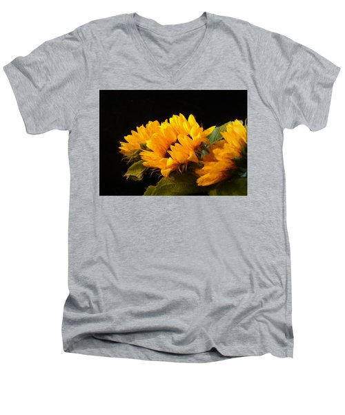 Sunflowers On A Black Background Men's V-Neck T-Shirt