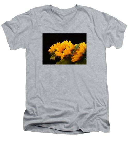 Sunflowers On A Black Background Men's V-Neck T-Shirt