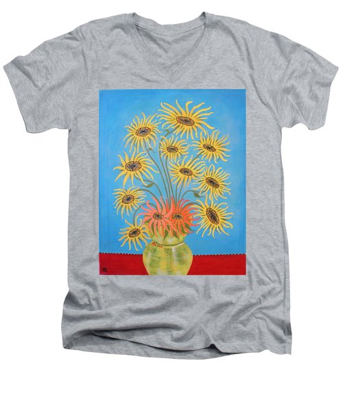 Sunflowers On Blue Men's V-Neck T-Shirt by Marie Schwarzer