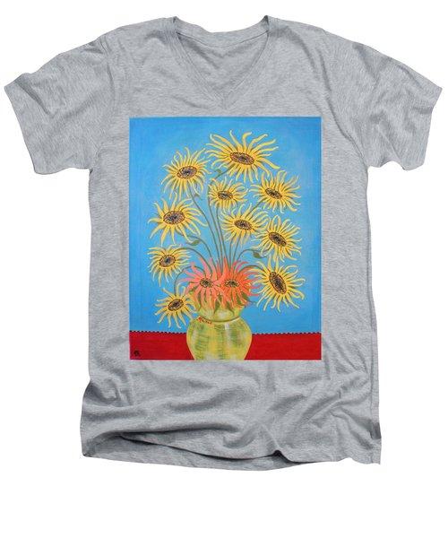 Sunflowers On Blue Men's V-Neck T-Shirt