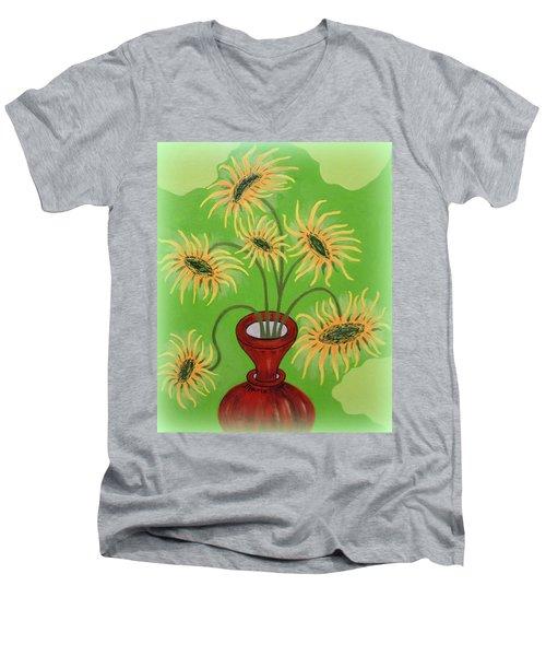 Sunflowers On Green Men's V-Neck T-Shirt