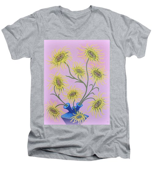 Sunflowers On Pink Men's V-Neck T-Shirt by Marie Schwarzer