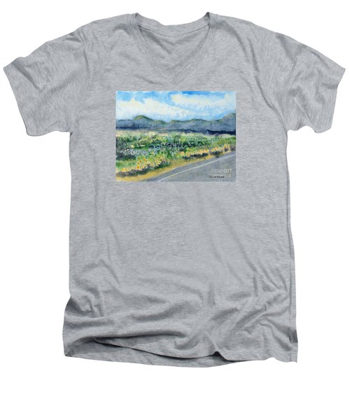 Sunflowers On The Way To The Great Sand Dunes Men's V-Neck T-Shirt