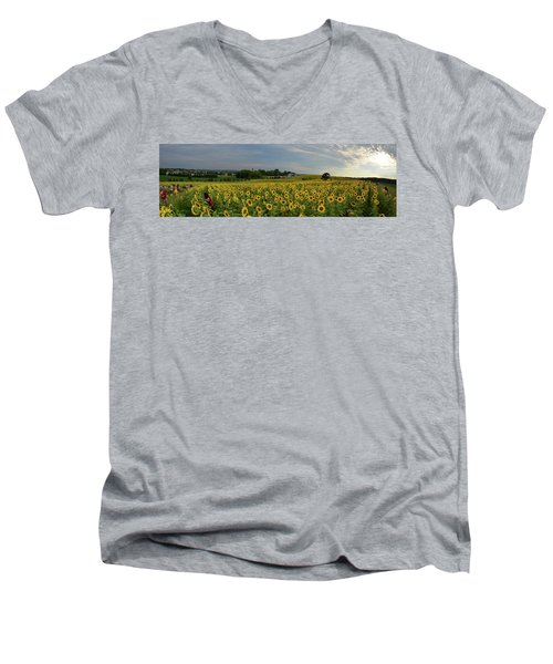Sunflowers, People, And Pictures 2 Men's V-Neck T-Shirt by Janice Adomeit