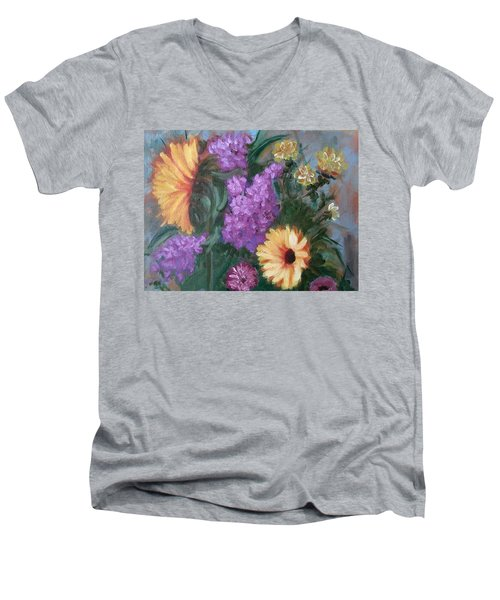 Sunflowers Men's V-Neck T-Shirt by Sharon Schultz