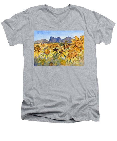 Men's V-Neck T-Shirt featuring the painting Sunflowers Springsure, Queensland by Ryn Shell
