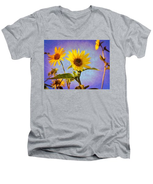 Men's V-Neck T-Shirt featuring the photograph Sunflowers - The Arrival by Glenn McCarthy Art and Photography