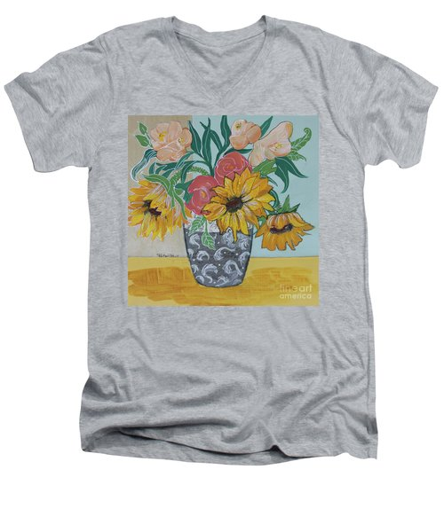 Men's V-Neck T-Shirt featuring the painting Sunflowers Three by Robin Maria Pedrero