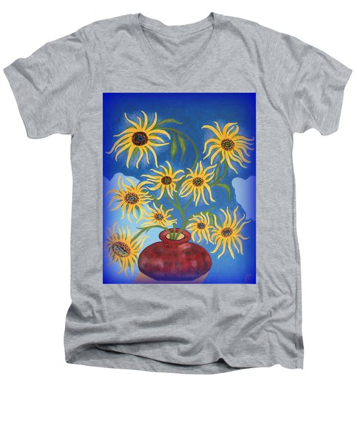 Sunflowers On Navy Blue Men's V-Neck T-Shirt by Marie Schwarzer