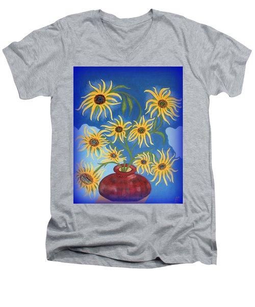Sunflowers On Navy Blue Men's V-Neck T-Shirt