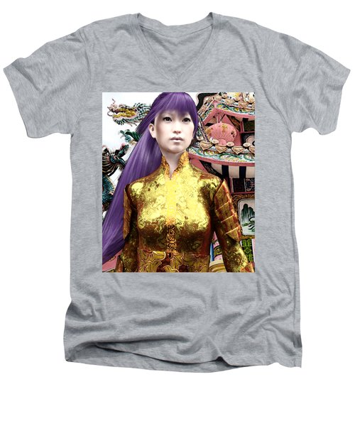 Sunkara In Lavender Men's V-Neck T-Shirt