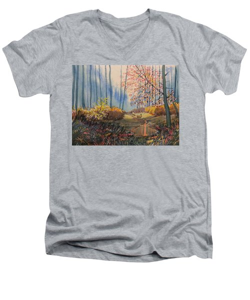 Sunlight And Sheep In Sledmere Woods Men's V-Neck T-Shirt