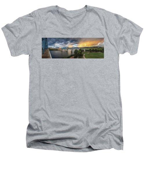 Sunlight And Showers Over Chattanooga Men's V-Neck T-Shirt by Steven Llorca