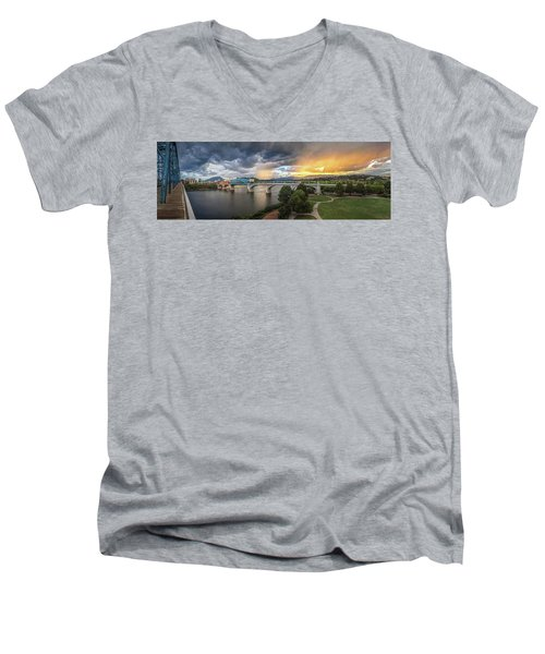 Sunlight And Showers Over Chattanooga Men's V-Neck T-Shirt